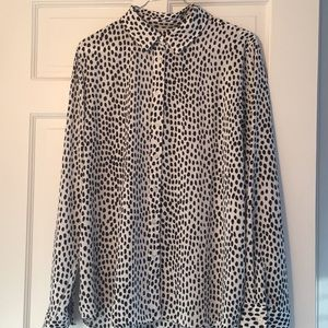 NWOT JCrew blue polka dot button down